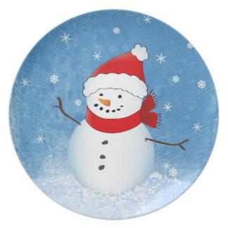 Placa del día de fiesta del muñeco de nieve plato