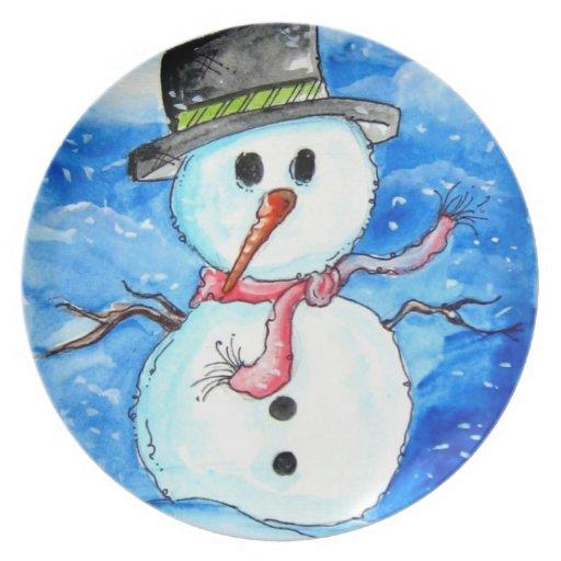 Placa del día de fiesta del muñeco de nieve plato de cena