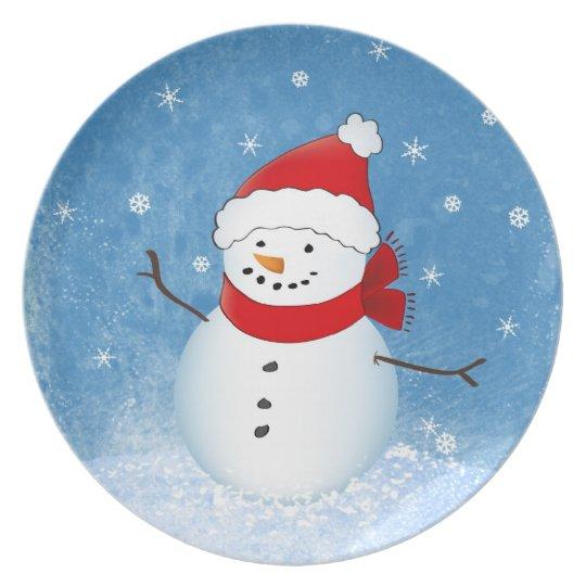 Placa del día de fiesta del muñeco de nieve plato para fiesta