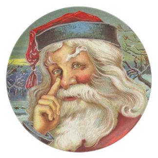 Placa del día de fiesta del navidad de la melamina platos para fiestas