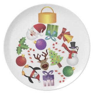 Placa del día de fiesta del navidad platos de comidas