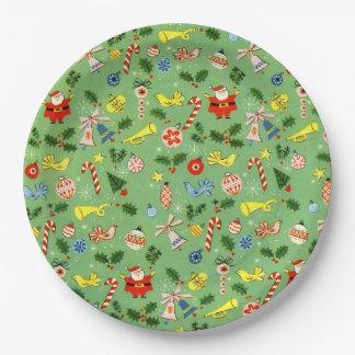 Placa del día de fiesta del Vintage-Navidad-Abrigo Plato De Papel 22,86 Cm