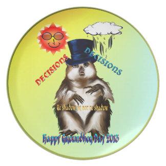 Placa del día de las Decisión-Decisiones-Groundhog Plato Para Fiesta