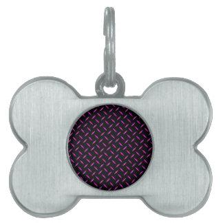 Placa del diamante rosado y negro placa de mascota
