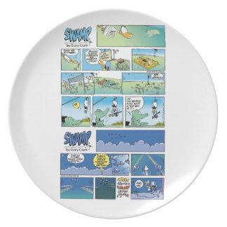 Placa del dibujo animado del carácter del pantano platos de comidas