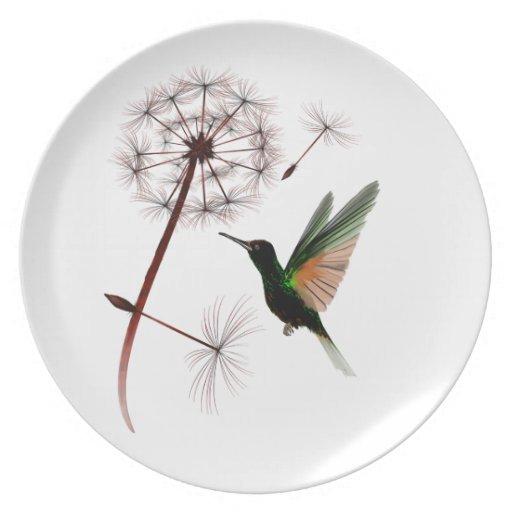 Placa del diente de león y del colibrí platos de comidas