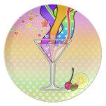 Placa del diseñador de Martini del arte pop de Max Platos Para Fiestas