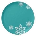 Placa del diseñador del copo de nieve plato de comida