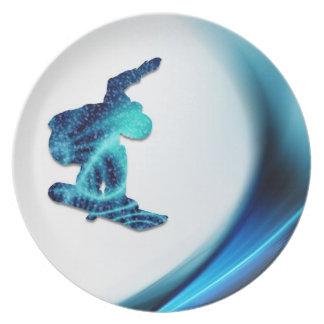 Placa del diseño de la snowboard plato de comida