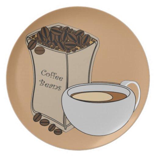 Placa del diseño de la taza de café de los granos  plato de comida
