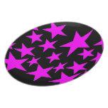 Placa del diseño de las estrellas del rosa plato para fiesta