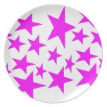 Placa del diseño de las estrellas del rosa platos