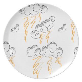 Placa del Doodle de la tormenta del relámpago Plato De Cena