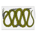 Placa del dragón de acero y verde felicitación