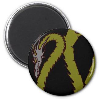 Placa del dragón de acero y verde imán redondo 5 cm