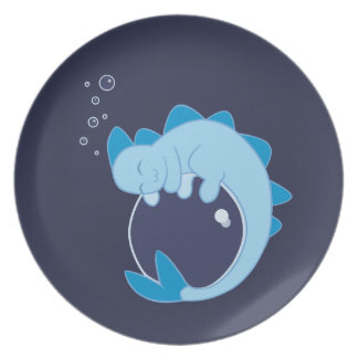 Placa del dragón de agua el dormir platos para fiestas