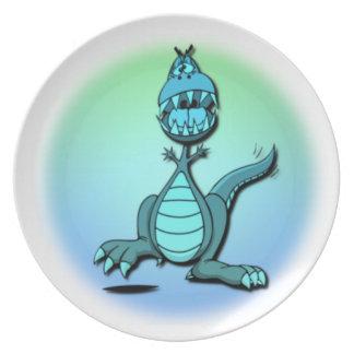 Placa del dragón del baile plato de cena