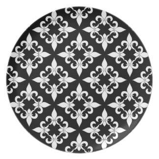 Placa del ébano de la flor de lis platos para fiestas