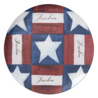 Placa del edredón de la libertad platos para fiestas