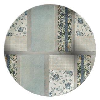 Placa del edredón de remiendo en azul plato para fiesta