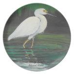 Placa del Egret Plato De Comida