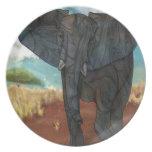 Placa del elefante africano plato