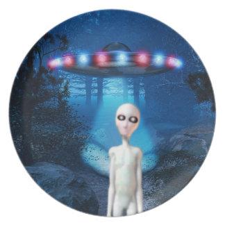 Placa del encuentro del cierre del UFO del bosque Plato De Comida