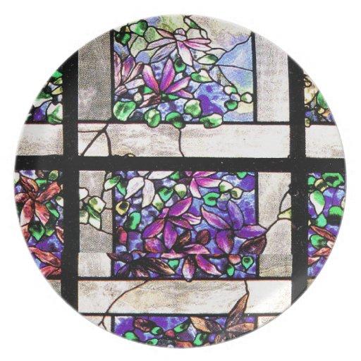 Placa del enrejado del vitral de Tiffany Platos De Comidas