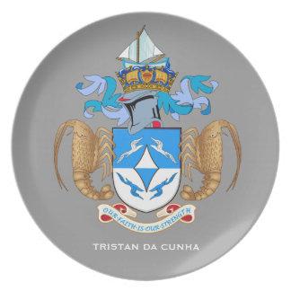 Placa del escudo de armas de Tristan DA Cunha* Platos