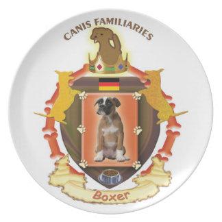Placa del escudo de armas del perro - boxeador plato de cena