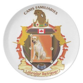 Placa del escudo de armas del perro - labrador ret plato de cena