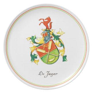 Placa del escudo de DeJager Plato Para Fiesta