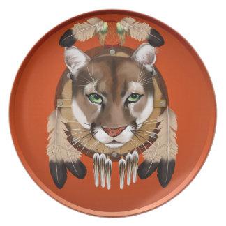 Placa del escudo del puma plato para fiesta