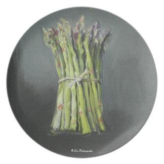 Placa del espárrago plato de comida