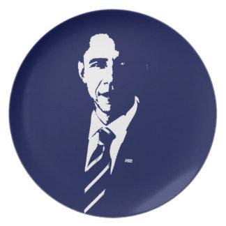 Placa del esquema de Barack Obama Platos Para Fiestas