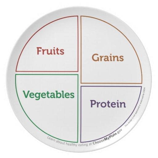 Placa del esquema del grupo de alimentos (MyPlate) Plato