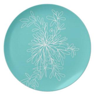 Placa del estallido de la aguamarina plato de cena