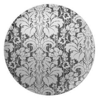 Placa del estampado de flores plato para fiesta