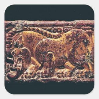 Placa del estilo de Ordos, 3ro-2do siglo A.C. Pegatina Cuadrada