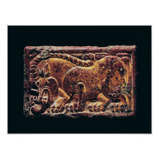 Placa del estilo de Ordos, 3ro-2do siglo A.C. Póster