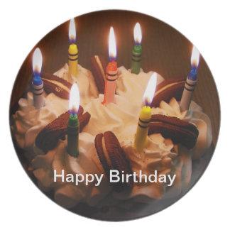 Placa del feliz cumpleaños platos para fiestas