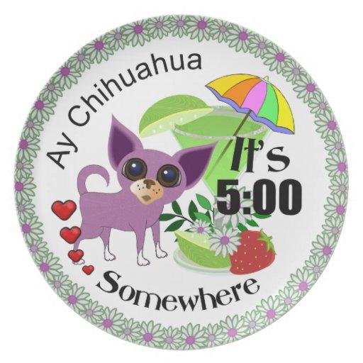 Placa del fiesta de la chihuahua de Ay Platos Para Fiestas