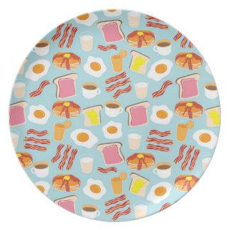 Placa del fiesta del brunch de la diversión del de plato de cena