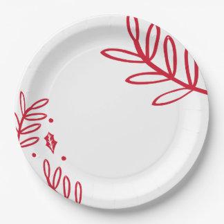Placa del fiesta del follaje del invierno plato de papel de 9 pulgadas
