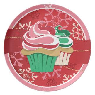 Placa del fiesta del intercambio de la magdalena d plato de cena