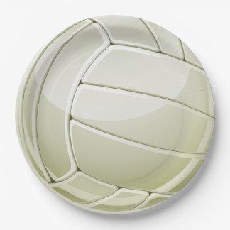 Placa del fiesta del papel del diseño del voleibol plato de papel de 9 pulgadas