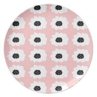 Placa del fiesta del rosa y del negro platos