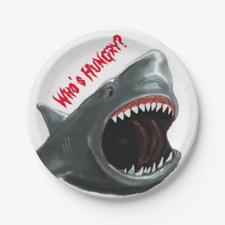 Placa del fiesta del tiburón plato de papel 17,78 cm
