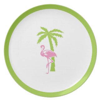 Placa del flamenco y de la palma plato de comida