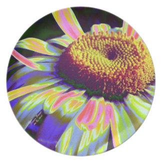 Placa del flower power plato de comida